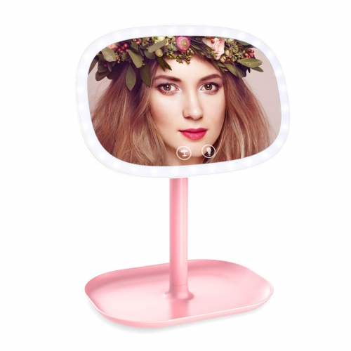 ERAY Countertop Vanity Mirrors with LED Lights Makeup Mirror Adjustable Countertop Table Mirror with Cosmetic Stand