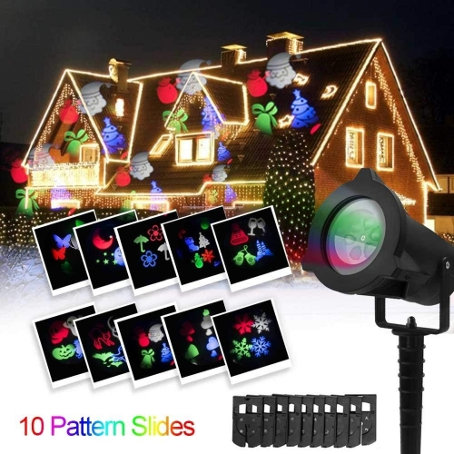 Eray LED Christmas Projector Lights 10pcs Slides Dynamic Landscape Spotlight Red and Green Star Show Outdoor Indoor Decorations Christmas Halloween