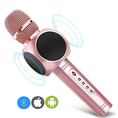 ERAY E103 Pink Microphone Karaoke Portable Microphone Bluetooth with Double Speakers