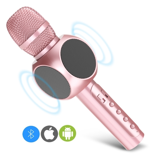 ERAY E203 Portable Karaoke Microphone with Built-in Bluetooth Speaker Pink