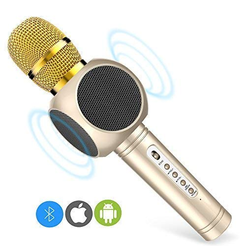 ERAY E103 Portable Bluetooth Microphone Karaoke with Speakers Gold