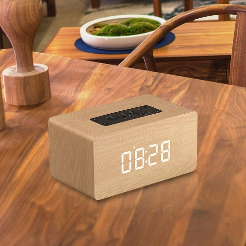 ERAY Wooden Bluetooth Speakers Alarm Clock with Radio V4.2