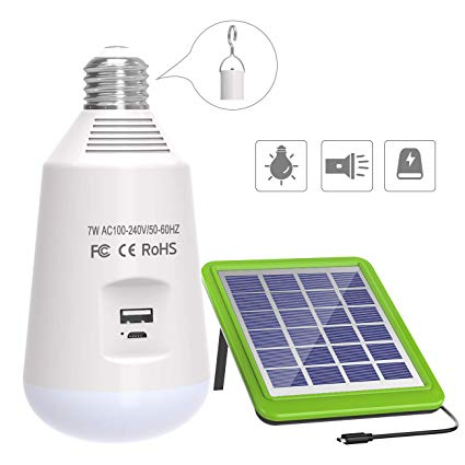 ERAY Portable Solar Bulb 7W  Solar Panel Powered LED Light Bulb 560lm USB Rechargeable for Outdoor Camping Hiking Fishing (E27 Base, 2600mAh)