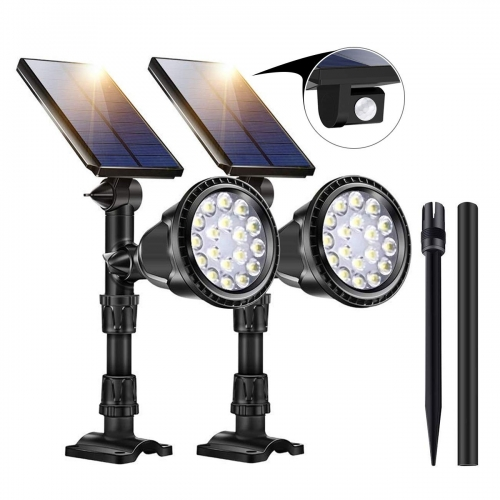 ERAY Motion Sensor Solar Spot Light Adjustable LED Landscape Lamps Waterproof Wall Lights for Patio Ultra Bright Lawn Garden Security Outdoor - 2pcs
