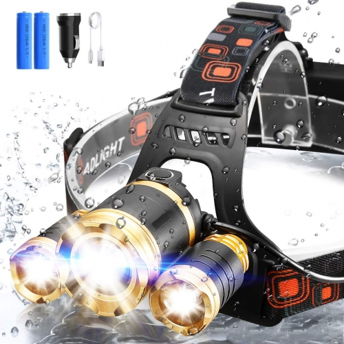 ERAY LED Headlamp Rechargeable 2000 Lumens Flashlight Kit Waterproof Bright Headlight with 3 LEDs and 4 Light Modes for Night Camping, Biking, Fishing