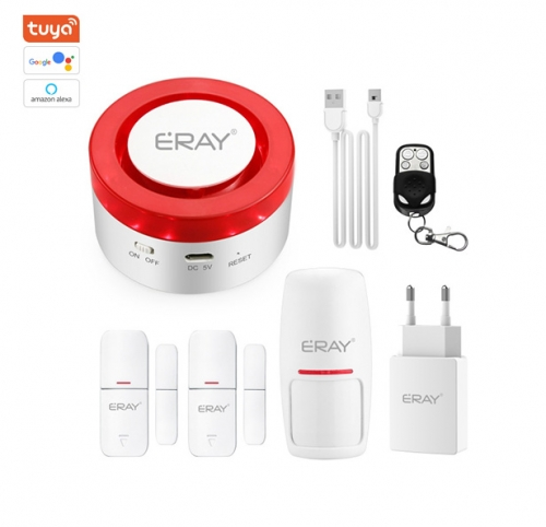 ERAY H1-A-KIT TUYA Smart Life WiFi Home Alarm System Wireless Alarm with Remote Control Support Alexa Google Assistant