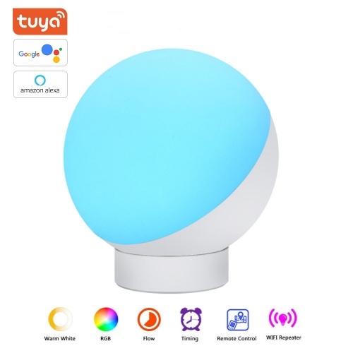 ERAY BL-01W Tuya Wi-Fi Smart Table Lamp Multicolor Changing LED RGBW Night Light, Dimmable Bedside Lamp Support Alexa/ Google Assistant