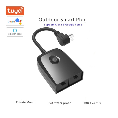ERAY OPS01 Tuya Outdoor WiFi Smart Plug with 2 Sockets,Compatible with Amazon Alexa, Google Assistant, Wireless  Remote control/Voice Control,US Plug