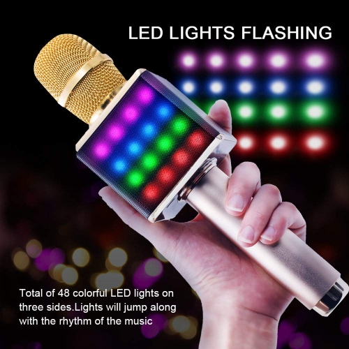 ERAY Wireless Bluetooth Karaoke Microphone Portable Handheld Karaoke Speaker Machine Rechargeable Home KTV Compatible with iPhone Android Smartphone P
