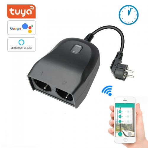 ERAY OPS02 Tuya Outdoor WiFi Smart Plug with 2 Sockets, Compatible with Amazon Alexa, Google Assistant, Wireless Remote Control/ Voice Control, EU Plu