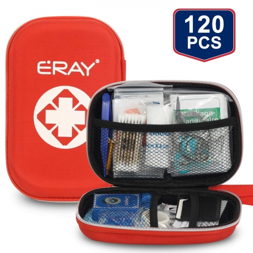 ERAY Portable First Aid Kit 120 Piece with Mask Minor Cuts, Scrapes, Sprains and Burns, Suitable for Home, Outdoors, Camping, Workplace Emergencies