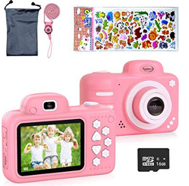 ERAY Kids Camera, Children Digital Camera for Kids 2.4 Inch HD 1080P LCD, Good Gift for Outdoor Travel (Pink)