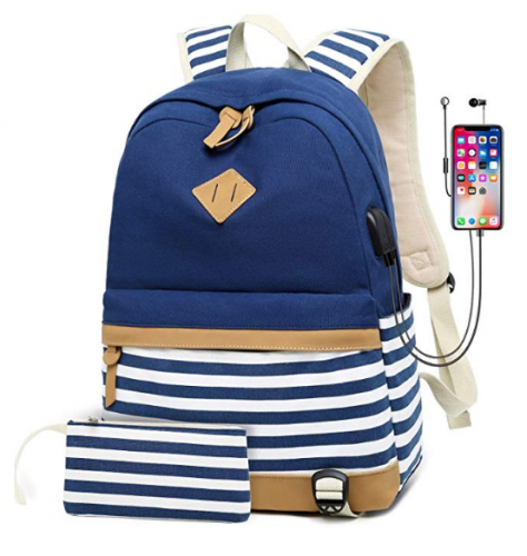 School Bags, ERAY Canvas Backpack, USB Port and Headphone Port, Ideal for Children / Women / Students / Travel, 11.8''x6.7''x16.9''