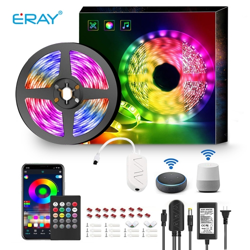 Smart WiFi LED Light Strip,5050 RGB Light Strips Change Color Sync to Music, Music Strip Lights Works with Alexa,16.4ft Dimmable Tape Light,APP Remote