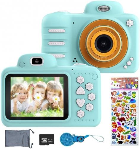 ERAY  Kids Camera, Children Digital Camera for Kids 2.4 Inch HD 1080P LCD, Good Gift for Outdoor Travel (Blue)