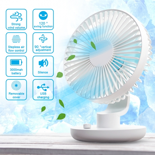 Mini Oscillating Desk Fan Stepless Personal Table Fan with Adjustable Tilt and Stable Base, Noiseless and USB Rechargeable for Home Office Outdoors