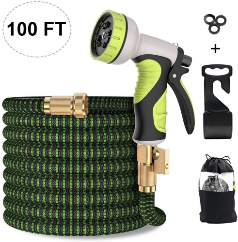 ERAY 100ft Extendable Garden Hose Flexible Expanding Water Hose with 9 Function Spray Nozzle, Solid Brass Fittings, Triple Latex Core, Black & Green