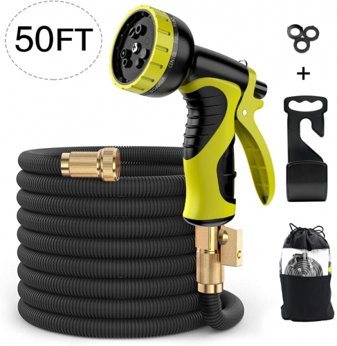ERAY 50ft Extendable Garden Hose Flexible Expanding Water Hose Leakproof with 9 Function Spray Nozzle, Solid Brass Fittings, Triple Latex Core, Black