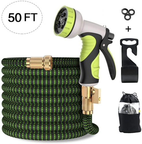 ERAY 50ft Extendable Garden Hose Flexible Expanding Water Hose with 9 Function Spray Nozzle, Solid Brass Fittings, Triple Latex Core, Black & Green