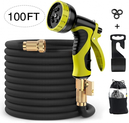 ERAY 100ft Extendable Garden Hose Flexible Expanding Water Hose Leakproof with 9 Function Spray Nozzle, Solid Brass Fittings, Triple Latex Core, Black