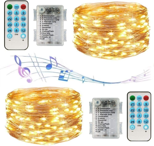 ERAY LED String Lights 2 Pack 32.8ft Battery Powered Fairy Lights Remote Control Copper Wire Lights with 12 Modes and Timer for Indoor Outdoor Decor