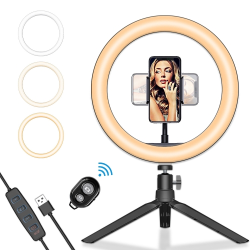 "ERAY 10"" Desktop Selfie Ring Light with Tripod & Phone Holder LED Selfie Lights for Live Stream & YouTube Video, 3 Light Modes, 10 Brightness Levels"