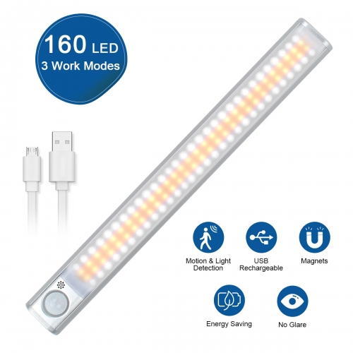 ERAY Dimmable Motion Sensor Closet Light 160 LED Under Cabinet Lighting with Magnetic Strip and Memory Function, 15 Inch Light Bar for Closet Wardrobe