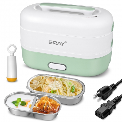 ERAY Electric Lunch Box Portable 2 Layer Food Heating Storage Warmer 1.2L Food-grade Food Heater for Office, Home and School