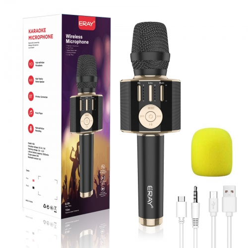 ERAY Wireless Karaoke Microphone Bluetooth Handheld Karaoke Mic Speaker Portable Microphone Compatible with iOS, Android, Laptop, PC