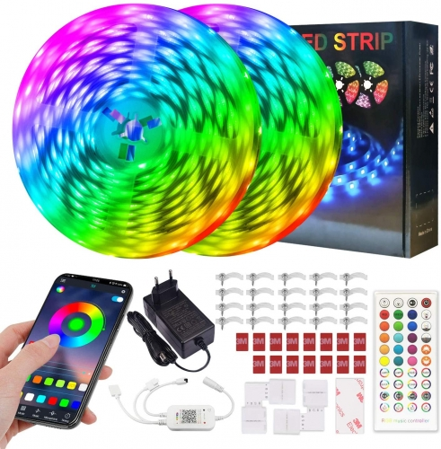 ERAY LED Strip Lights Kit 65.6ft Music Sync Tape Lights Color Changing RGB Rope Lights with App Control and Remote Control, Dimmable for Party, Home