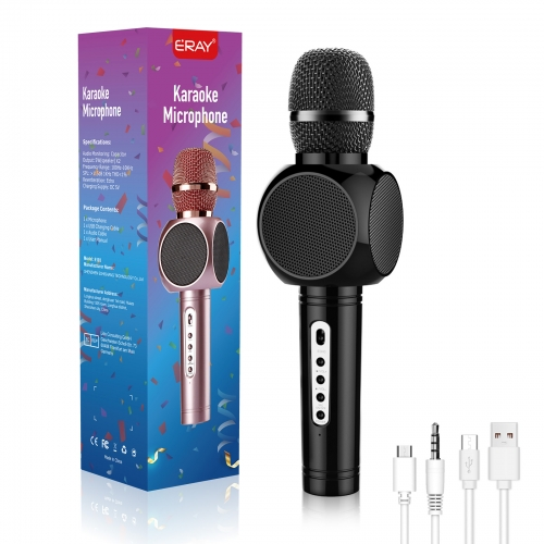 ERAY E103 Wireless Karaoke Microphone Portable Handheld Karaoke Speaker Machine with Double Bluetooth Speakers for Bluetooth Enabled Devices
