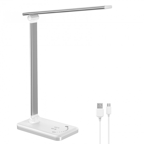 ERAY Foldable LED Desk Lamp Touch Dimmable Table Lamp with USB Output, Timer & Memory Function for Work Study Office