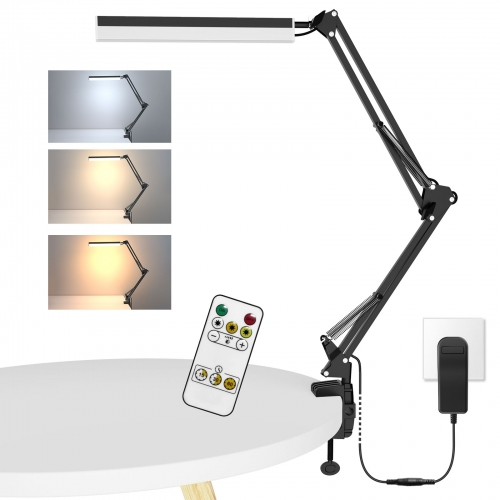 ERAY LED Desk Lamp with Clamp Eye-Care Swing Arm Lamp Dimmable Architect Table Lamp with 3 Color Modes for Home Office